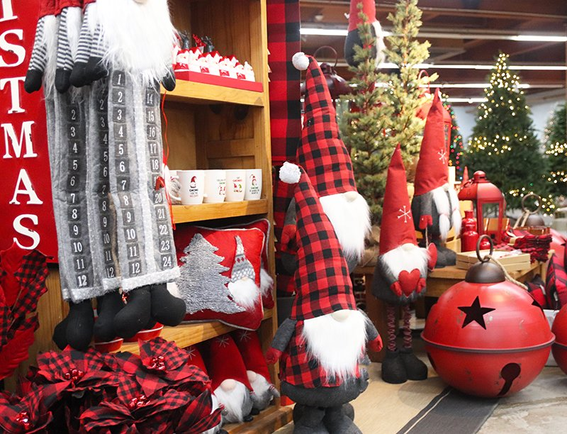 Christmas decor in many colors and styles at Flowerland